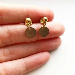 Tiny gold disc drop earrings